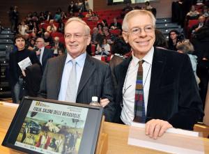 Il presidente della Fondazione per il libro, Rolando Picchioni, e il direttore del Salone Ernesto Ferrero
